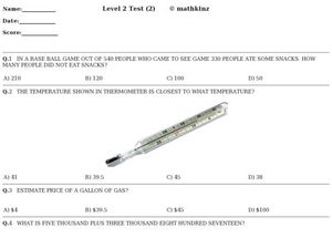 Level 2 Test 2 Math Assessment Worksheet