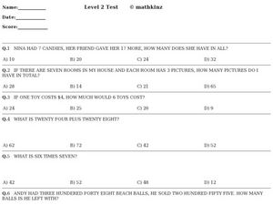 Level 2 Test- Math Worksheet
