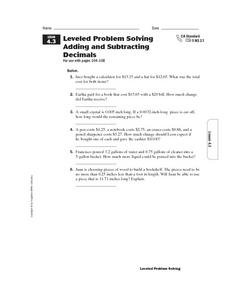 Leveled Problem Solving  Adding and Subtracting  Decimals Worksheet