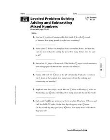 Leveled Problem Solving: Adding and Subtracting Mixed Numbers Worksheet