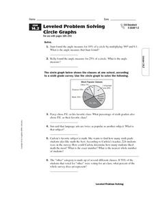Leveled Problem Solving: Circle Graphs Worksheet