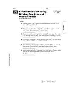 Leveled Problem Solving  Dividing Fractions and  Mixed Numbers Worksheet
