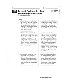 Leveled Problem Solving  Evaluating Expressions Worksheet