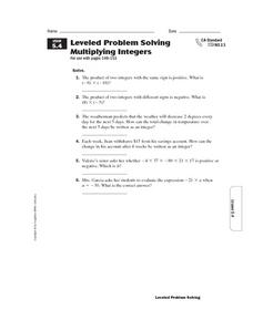 Leveled Problem Solving: Multiplying Integers Worksheet
