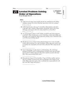 Leveled Problem Solving  Order of Operations Worksheet