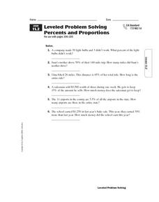Leveled Problem Solving: Percents and Proportions Worksheet