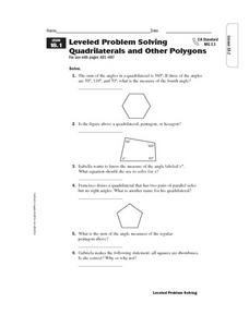 Leveled Problem Solving Quadrilaterals and Other Polygons Worksheet
