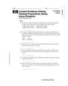 Leveled Problem Solving  Solving Proportions Using  Cross Products Worksheet