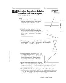 Leveled Problem Solving  Special Pairs of Angles Worksheet