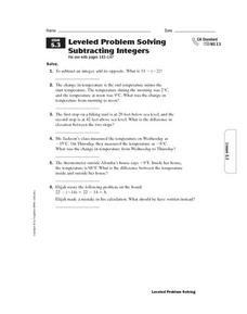 Leveled Problem Solving Subtracting Integers Worksheet