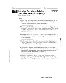 Leveled Problem Solving: The Distributive Property Worksheet
