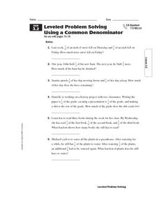 Leveled Problem Solving  Using a Common Denominator Worksheet
