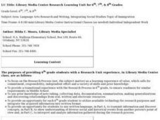 Library Media Center Research Learning Lesson Plan