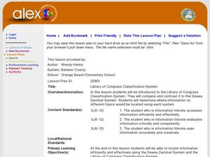 Library of Congress Classification System Lesson Plan