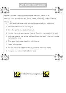 Life Cycle of Frog Crossword Worksheet