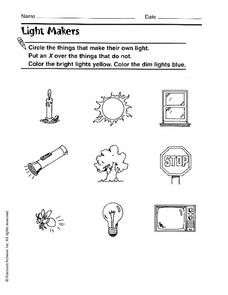 Light Makers Worksheet