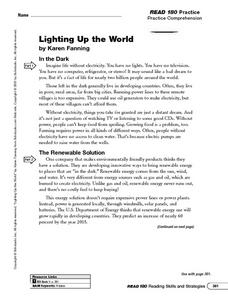 Lighting Up the World Worksheet