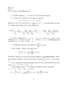 Limit Definition of the Definite Integral Worksheet