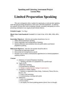 Limited Preparation Speaking Lesson Plan