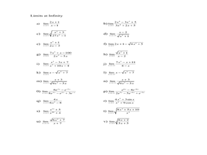 Limits at Infinity 11th - 12th Grade Worksheet | Lesson Planet