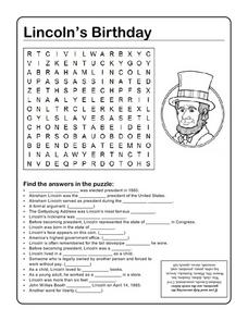 Lincoln's Birthday Word Search Worksheet