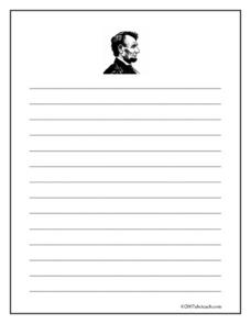 Lincoln Writing Paper- (wide ruled) Printables & Template