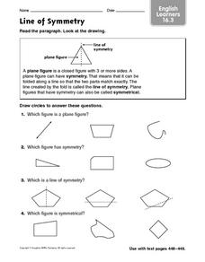Line of Symmetry: English Learners Worksheet