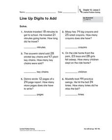 Line Up Digits to Add Worksheet