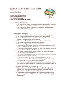 Linear and Non-Linear Equations Lesson Plan