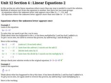 Linear Equations 2 Worksheet