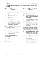 Linear Equations and Measures of Central Tendency Worksheet