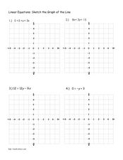 Linear Equations: Sketch the graph of the line Worksheet