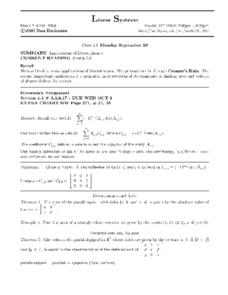 Linear Systems:  Applications of Determinants Worksheet