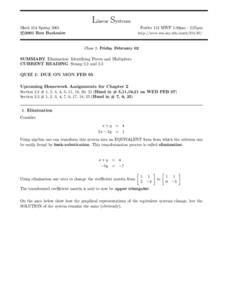 Linear Systems:  Elimination Worksheet