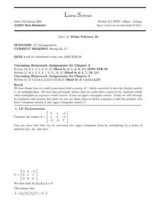 Linear Systems/ LU Decomposition Worksheet