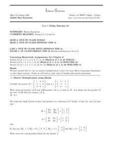 Linear Systems:  Matrix Operations Worksheet