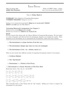 Linear Systems: Methods of Computing Determinants Worksheet