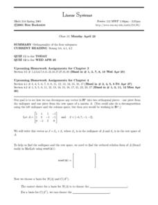 Linear Systems:  Orthogonality of Subspaces Worksheet