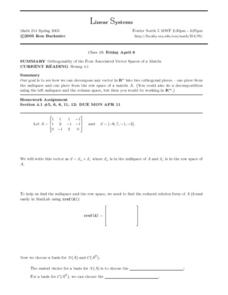 Linear Systems:  Orthogonality of Vector Spaces of a Matrix Worksheet