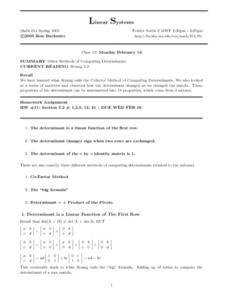 Linear Systems: Other Methods of Computing Determinants Worksheet