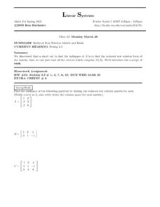 Linear Systems:  Reduced Row Echelon Matrix Worksheet