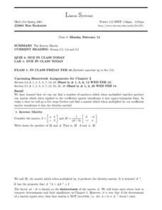 Linear Systems:  The Inverse Matrix Worksheet
