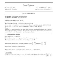 Linear Systems:  The Nullspace Matrix and Rank Worksheet