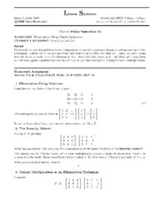 Linear Systems:  Using Matrix Operations Worksheet