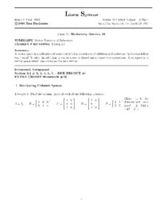 Linear Systems:  Vector Spaces and Subspaces Worksheet