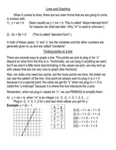 Lines and Graphing Worksheet