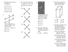 Lines, Angles and Points Review Worksheet