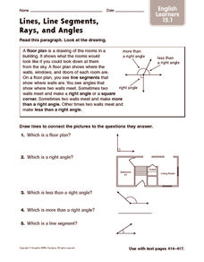 Lines, Line Segments, Rays, and Angles: English Learners Worksheet
