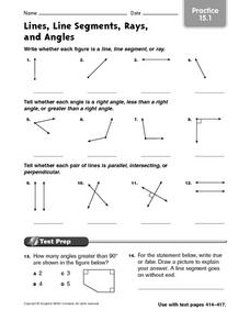Lines, Line Segments, Rays, and Angles - Practice 15.1 3rd - 5th Grade ...