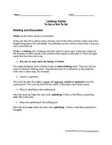 Linking Verbs: To Be or Not To Be Worksheet